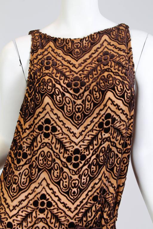 1920s Silk Devoré Velvet Dress For Sale 2