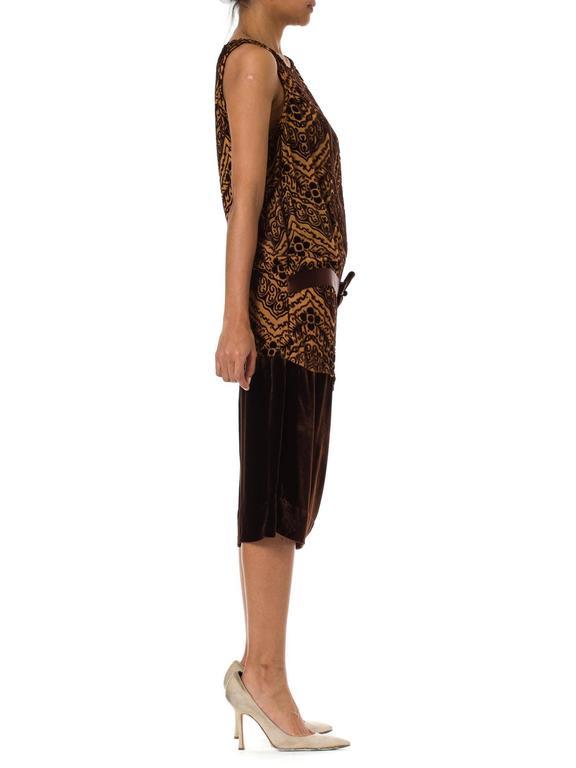1920s Silk Devoré Velvet Dress In Excellent Condition For Sale In New York, NY