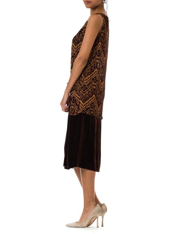 1920s Silk Devoré Velvet Dress For Sale 1