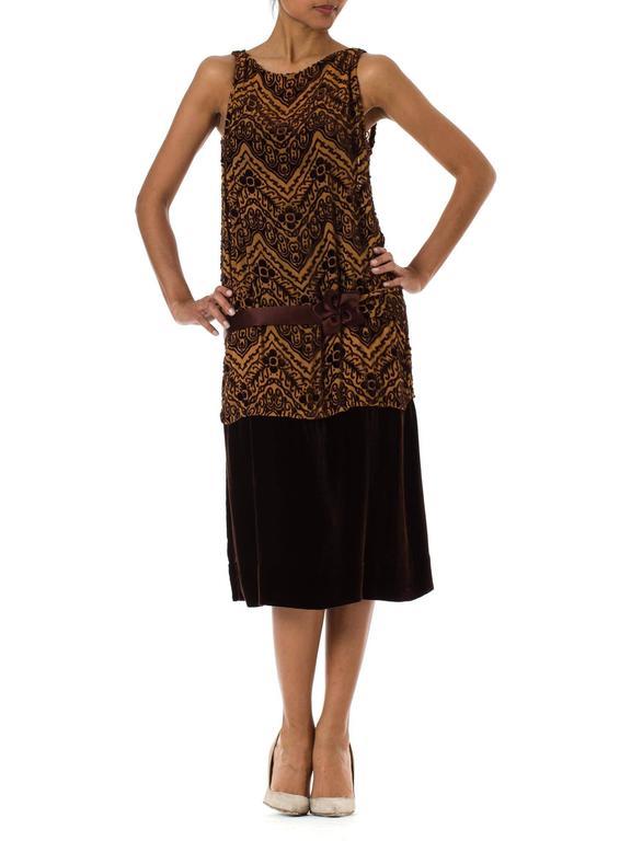 Black 1920s Silk Devoré Velvet Dress For Sale