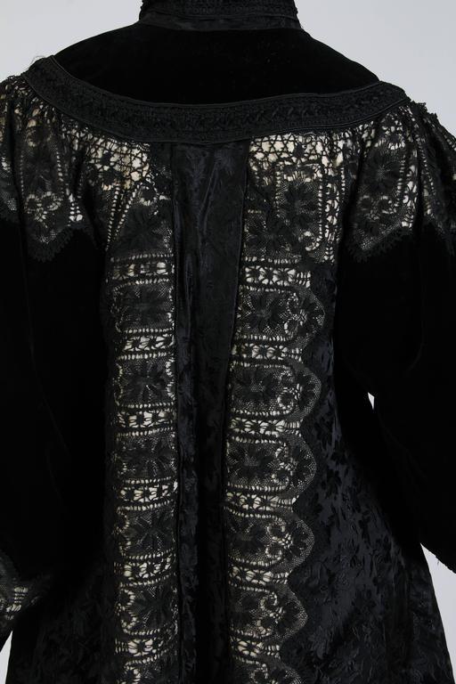 1890s Belle Epoch Silk Damask Velvet and Lace Jacket 9
