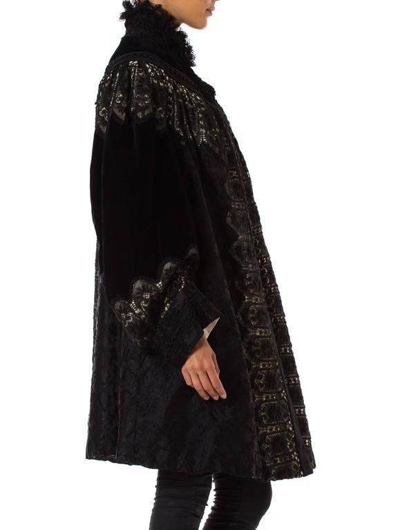 1890s Belle Epoch Silk Damask Velvet and Lace Jacket 6
