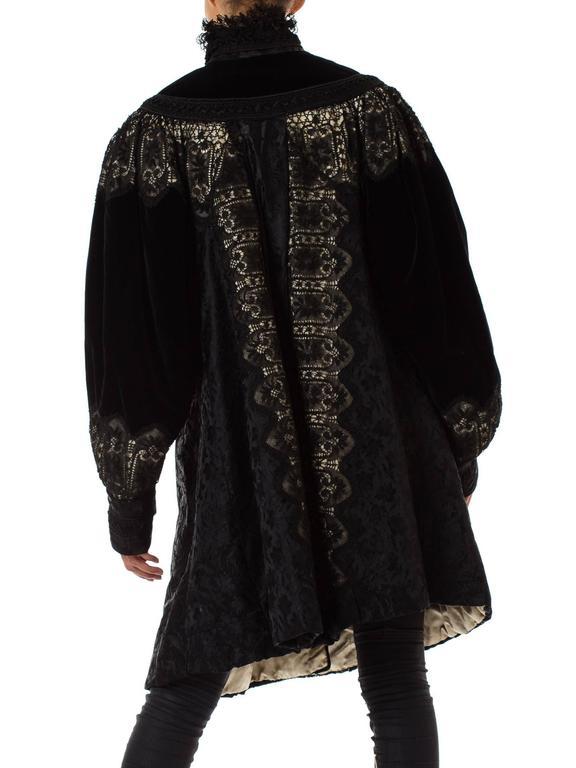 1890s Belle Epoch Silk Damask Velvet and Lace Jacket 8