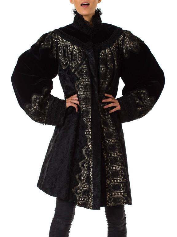 1890s Belle Epoch Silk Damask Velvet and Lace Jacket 2