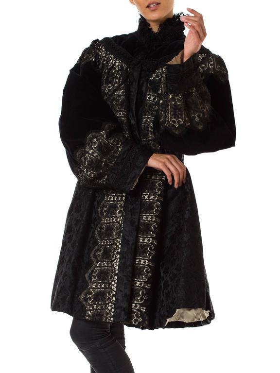 1890s Belle Epoch Silk Damask Velvet and Lace Jacket 3