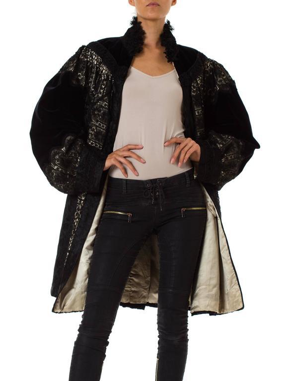 1890s Belle Epoch Silk Damask Velvet and Lace Jacket 4