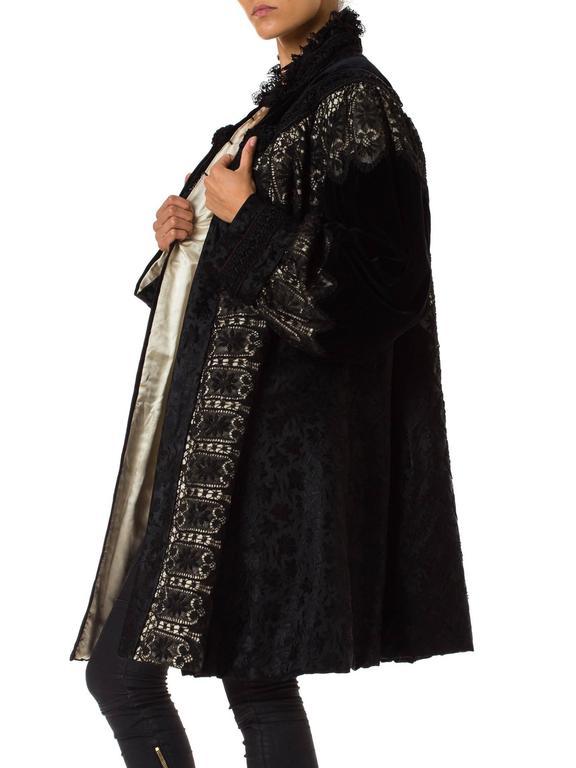 1890s Belle Epoch Silk Damask Velvet and Lace Jacket 7