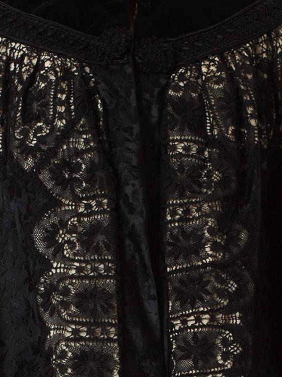 1890s Belle Epoch Silk Damask Velvet and Lace Jacket 10