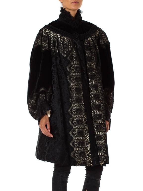 1890s Belle Epoch Silk Damask Velvet and Lace Jacket 5