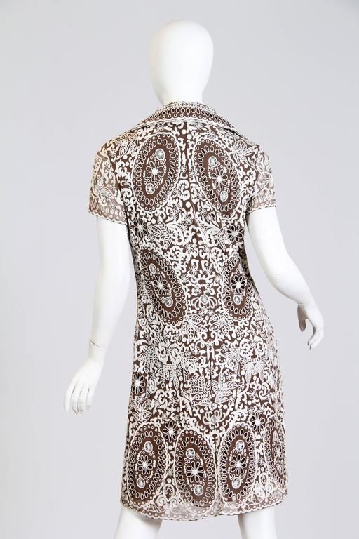 Naeem Khan Lace Embroidered Chiffon Dress In Excellent Condition For Sale In New York, NY