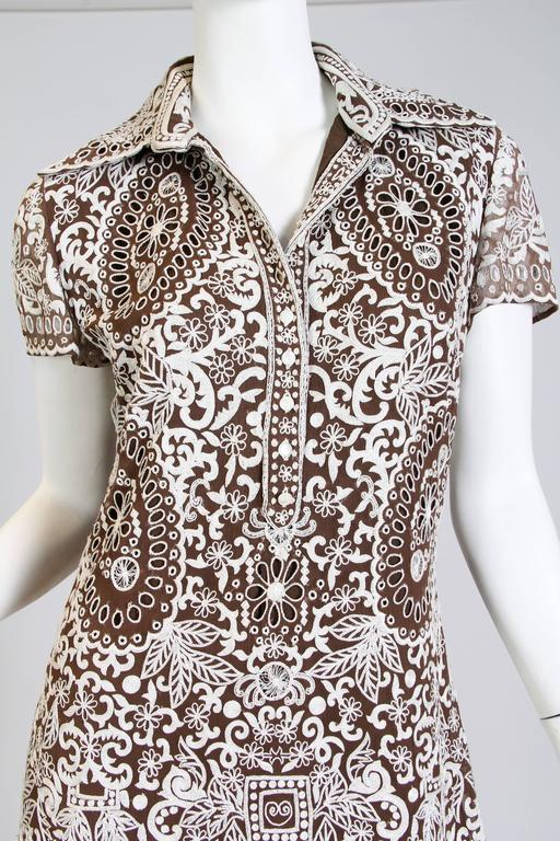 Women's Naeem Khan Lace Embroidered Chiffon Dress For Sale