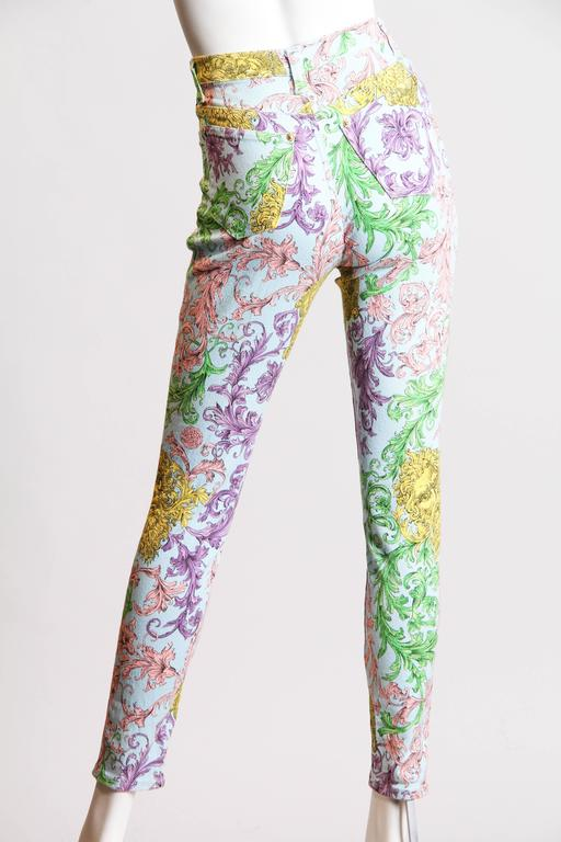 Gianni Versace Baroque Print High-Waisted Jeans 3