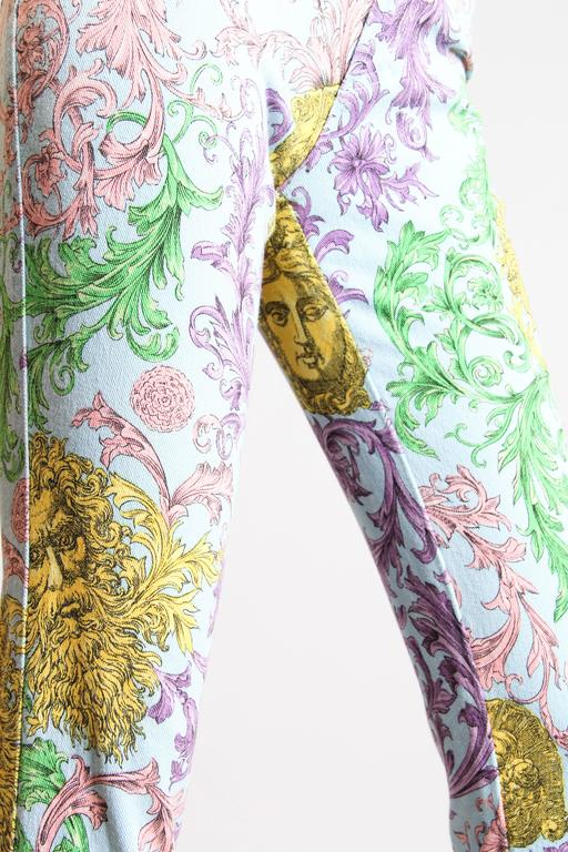 Women's Gianni Versace Baroque Print High-Waisted Jeans For Sale