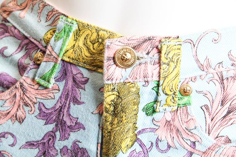 Gianni Versace Baroque Print High-Waisted Jeans For Sale 1