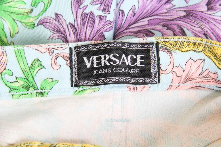 Gianni Versace Baroque Print High-Waisted Jeans For Sale 4