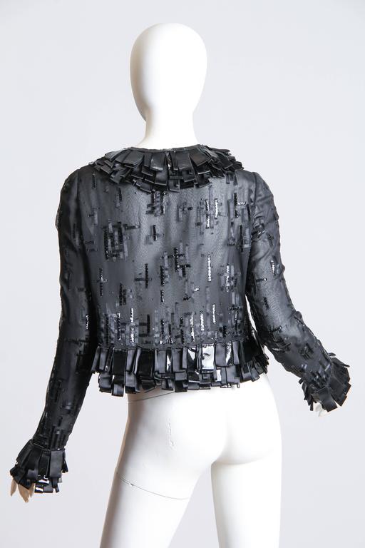 Sheer Oscar De LaRenta Embellished Jacket In Excellent Condition For Sale In New York, NY