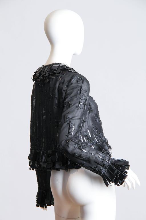 Black Sheer Oscar De LaRenta Embellished Jacket For Sale