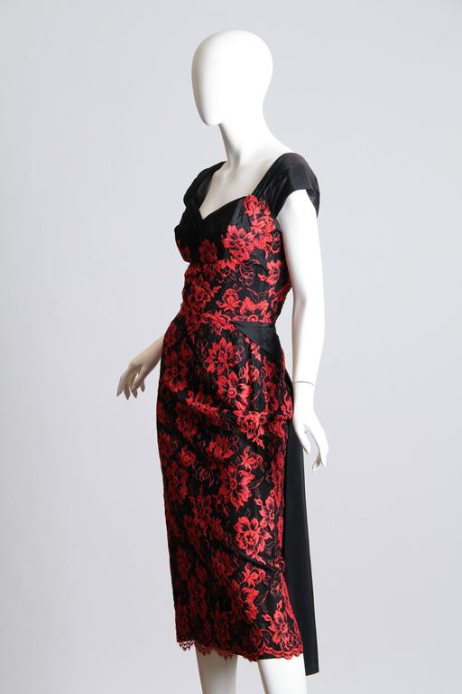 1950S PEGGY HUNT Black & Red Silk Taffeta Chantilly Lace Cocktail Dress For Sale 1