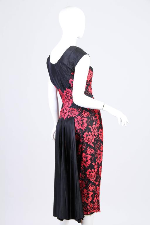 Women's 1950S PEGGY HUNT Black & Red Silk Taffeta Chantilly Lace Cocktail Dress For Sale