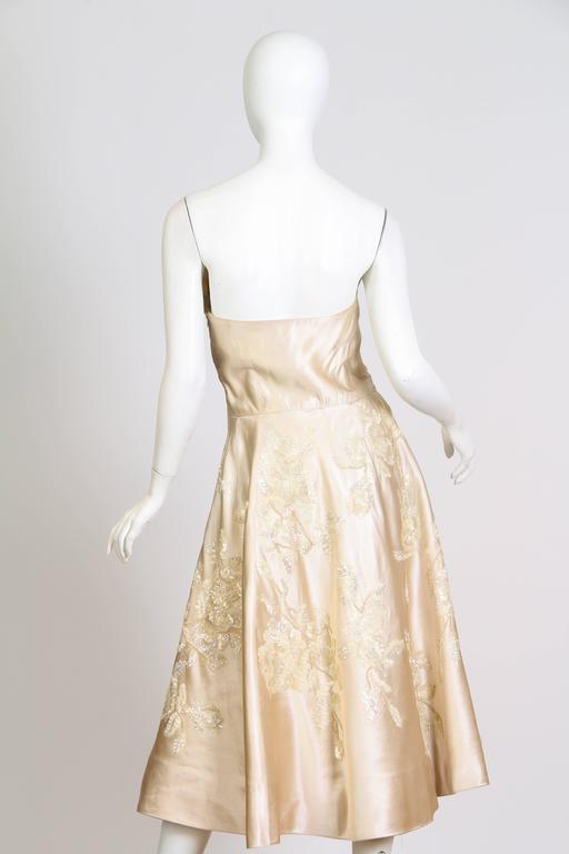 1950s Sophie Of Saks Beaded Peau De Soie Dress For Sale At