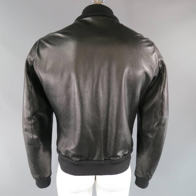 and GABBANA Men's 42 Black Leather Bomber Style Jacket at 1stdibs