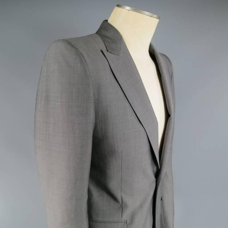 ALEXANDER MCQUEEN Men's 36 Short Gray Wool / Mohair Peak Lapel Sport Coat 2