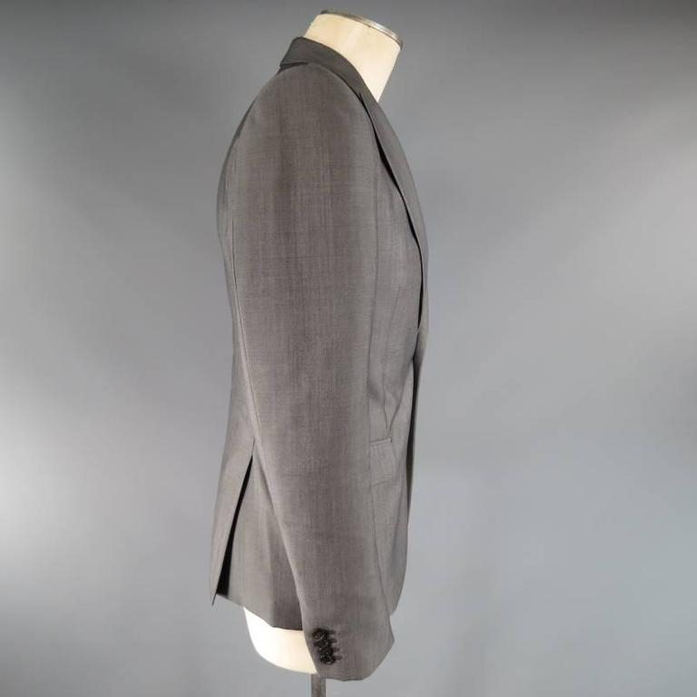 ALEXANDER MCQUEEN Men's 36 Short Gray Wool / Mohair Peak Lapel Sport Coat 3