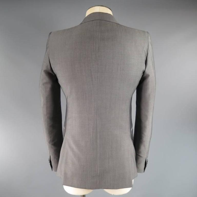 ALEXANDER MCQUEEN Men's 36 Short Gray Wool / Mohair Peak Lapel Sport Coat 4