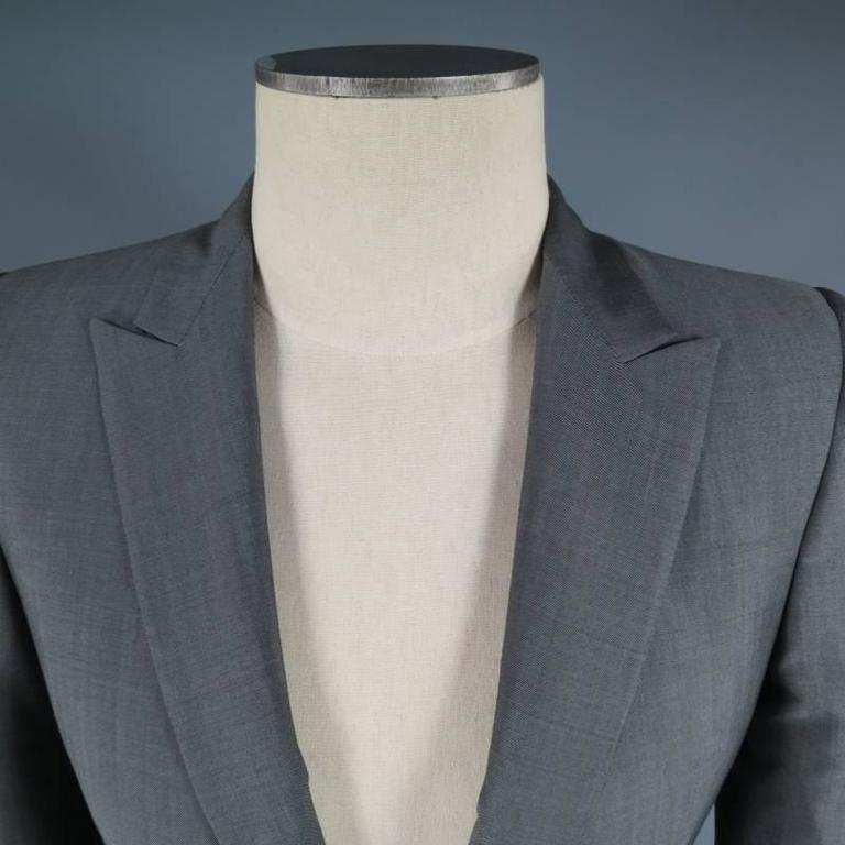 ALEXANDER MCQUEEN Men's 36 Short Gray Wool / Mohair Peak Lapel Sport Coat 5