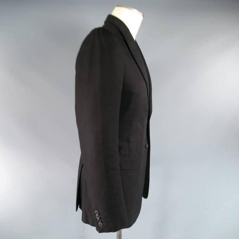 ALEXANDER MCQUEEN Men's 38 Regular Black Cotton Canvas Peak Lapel Sport Coat 4
