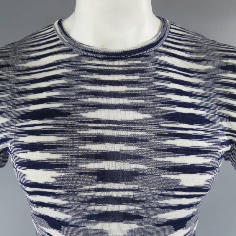 MISSONI Size L Navy and White Pattern Knit Stripe T-shirt at 1stdibs