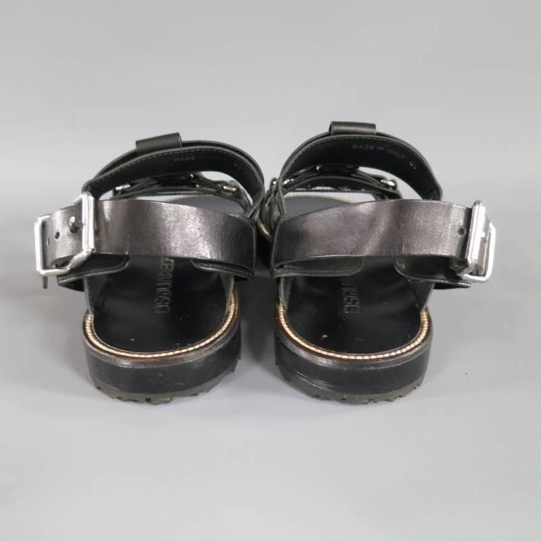 Men's DSQUARED2 Size 8 Black Leather Fetish Harness Gladiator Sandals For Sale