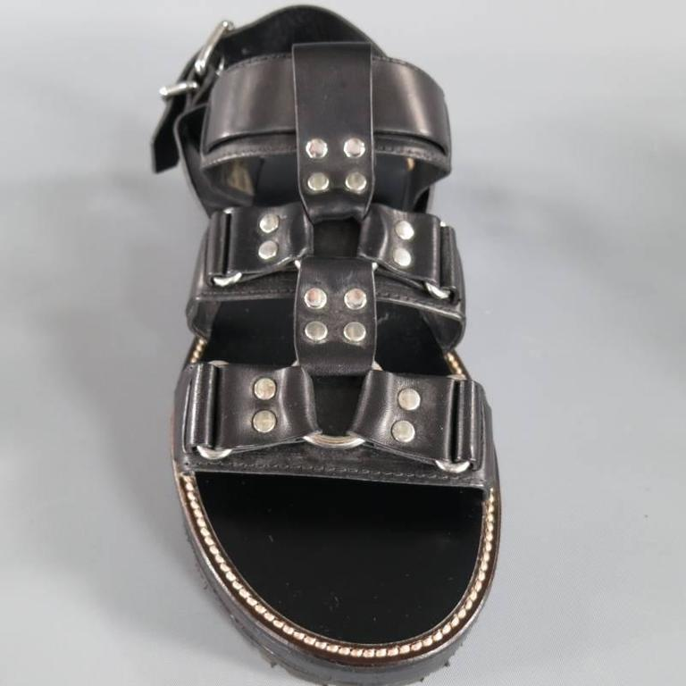 DSQUARED2 Size 8 Black Leather Fetish Harness Gladiator Sandals For Sale 1