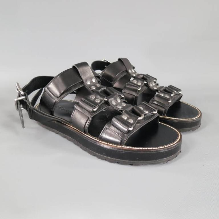 DSQUARED2 Size 8 Black Leather Fetish Harness Gladiator Sandals For Sale 2