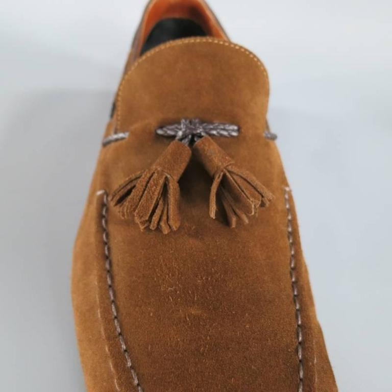 TOM FORD Size 10.5 Brown Suede TBraided Piping Tassel Loafers 6