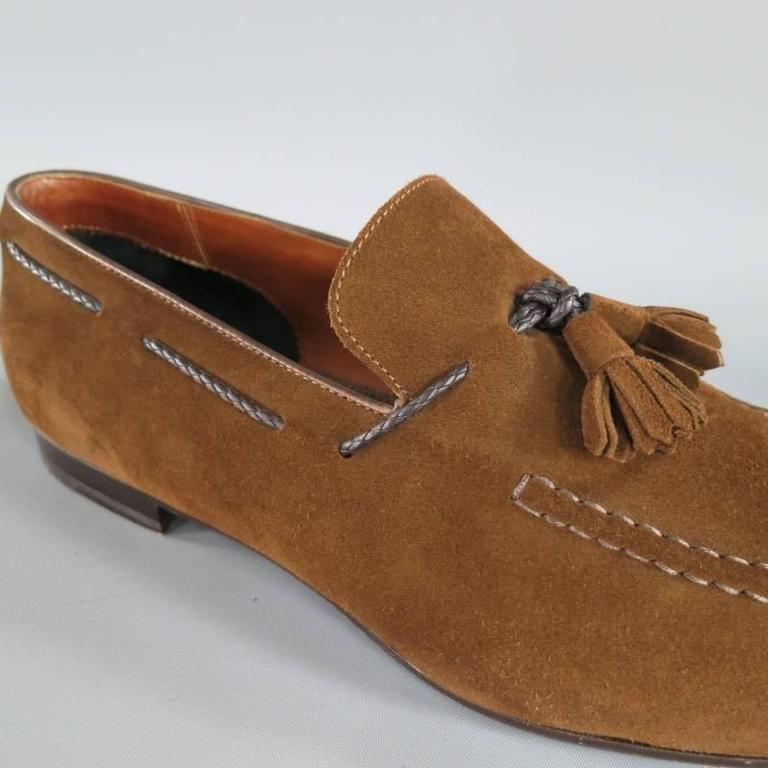 TOM FORD Size 10.5 Brown Suede TBraided Piping Tassel Loafers 5