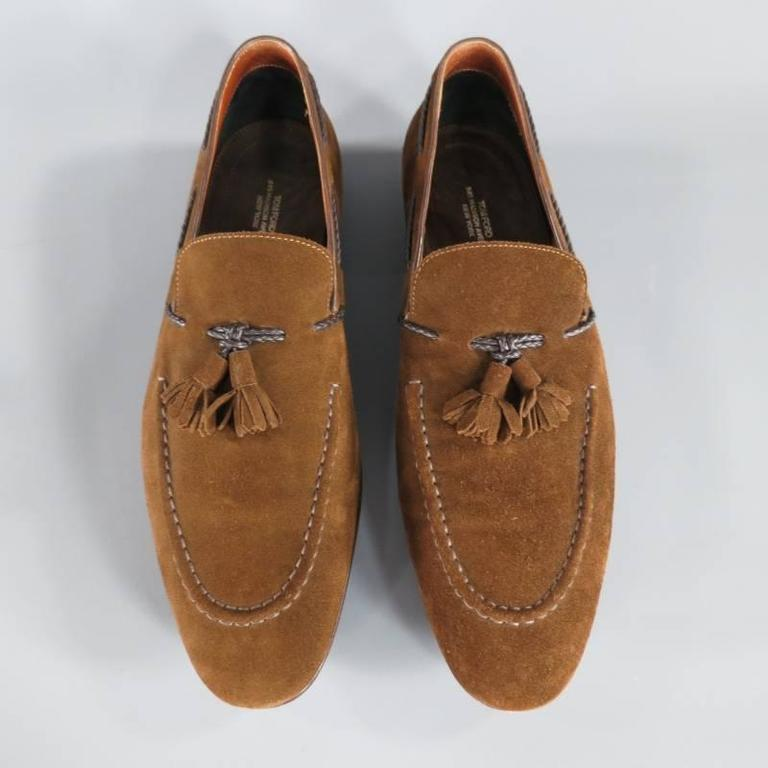 TOM FORD Size 10.5 Brown Suede TBraided Piping Tassel Loafers 2