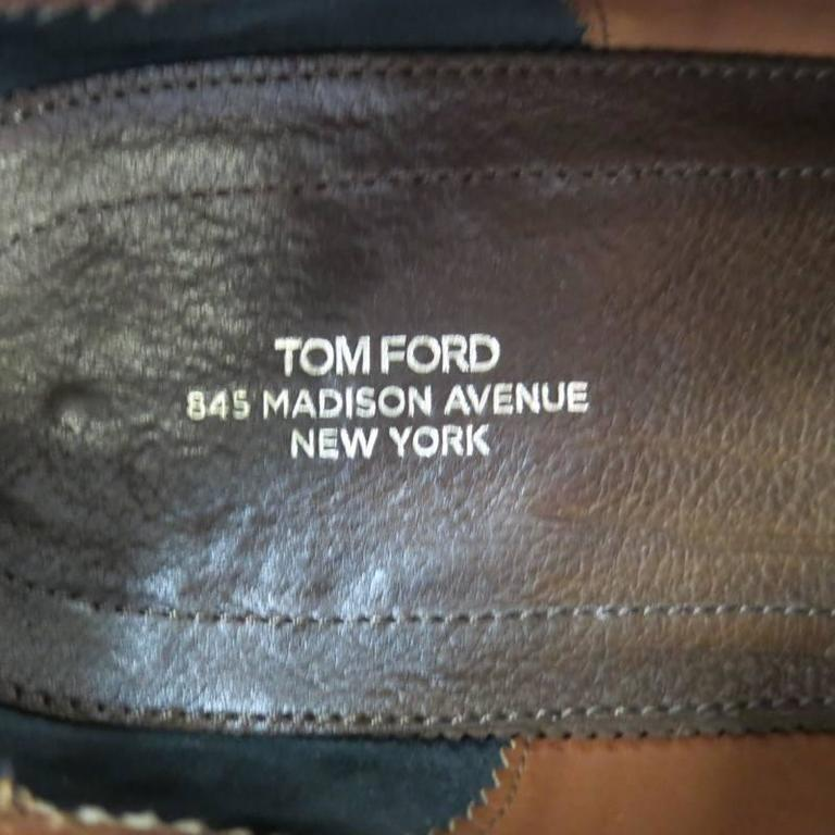 TOM FORD Size 10.5 Brown Suede TBraided Piping Tassel Loafers For Sale 4
