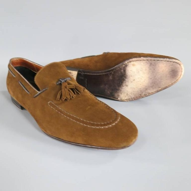 TOM FORD Size 10.5 Brown Suede TBraided Piping Tassel Loafers 3