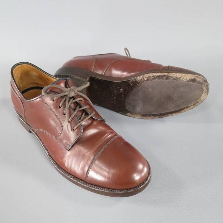Men's BRUNELLO CUCINELLI Size 8 Brown Leather Cap-toe Lace Up For Sale