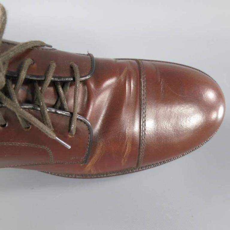 BRUNELLO CUCINELLI Size 8 Brown Leather Cap-toe Lace Up For Sale 2