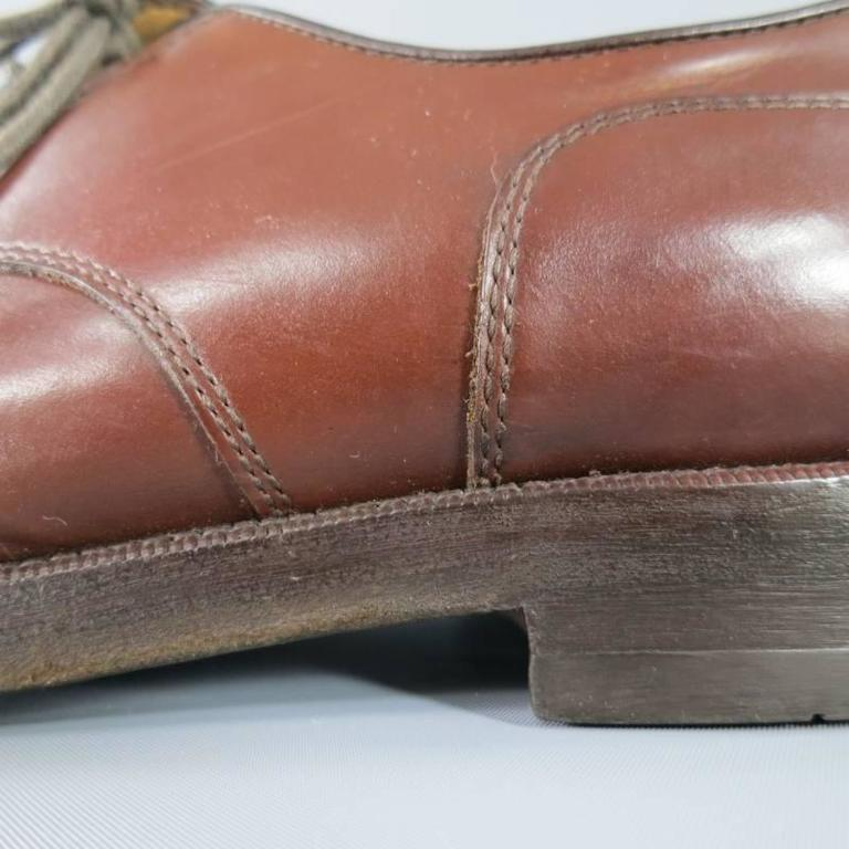 BRUNELLO CUCINELLI Size 8 Brown Leather Cap-toe Lace Up In Excellent Condition For Sale In San Francisco, CA