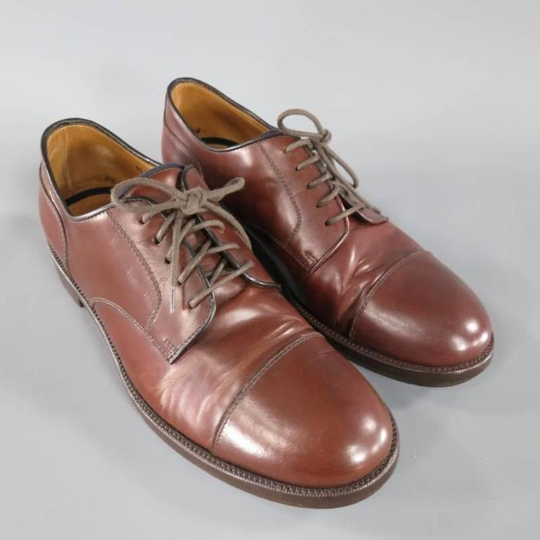 BRUNELLO CUCINELLI Size 8 Brown Leather Cap-toe Lace Up For Sale 1