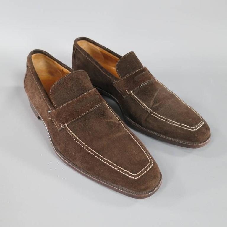 SUTOR MANTELLASSI Size 8 Brown Suede Penny Loafers 2