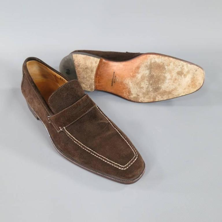 SUTOR MANTELLASSI Size 8 Brown Suede Penny Loafers 4