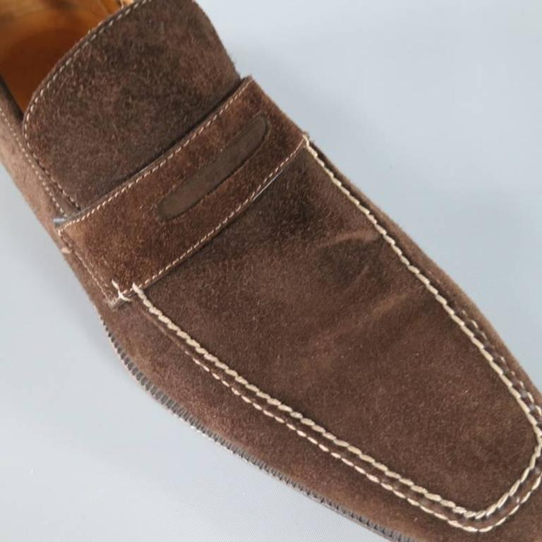 SUTOR MANTELLASSI Size 8 Brown Suede Penny Loafers 3