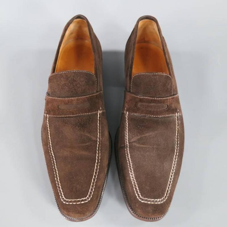 SUTOR MANTELLASSI Size 8 Brown Suede Penny Loafers 5