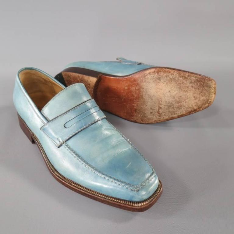 SUTOR MANTELLASSI Size 7.5 Men's Washed Blue Leather Penny Loafers In Good Condition For Sale In San Francisco, CA