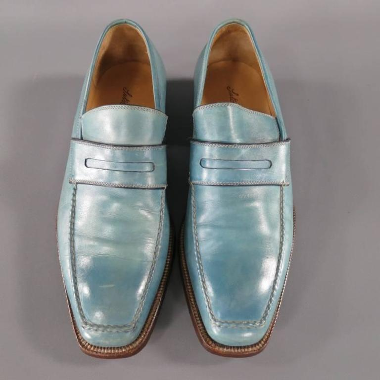Gray SUTOR MANTELLASSI Size 7.5 Men's Washed Blue Leather Penny Loafers For Sale
