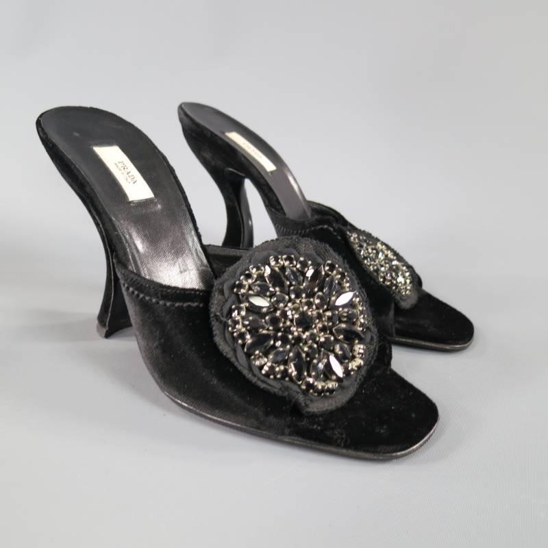Prada Size 6 5 Black Velvet Curved Heel Crystal Flower